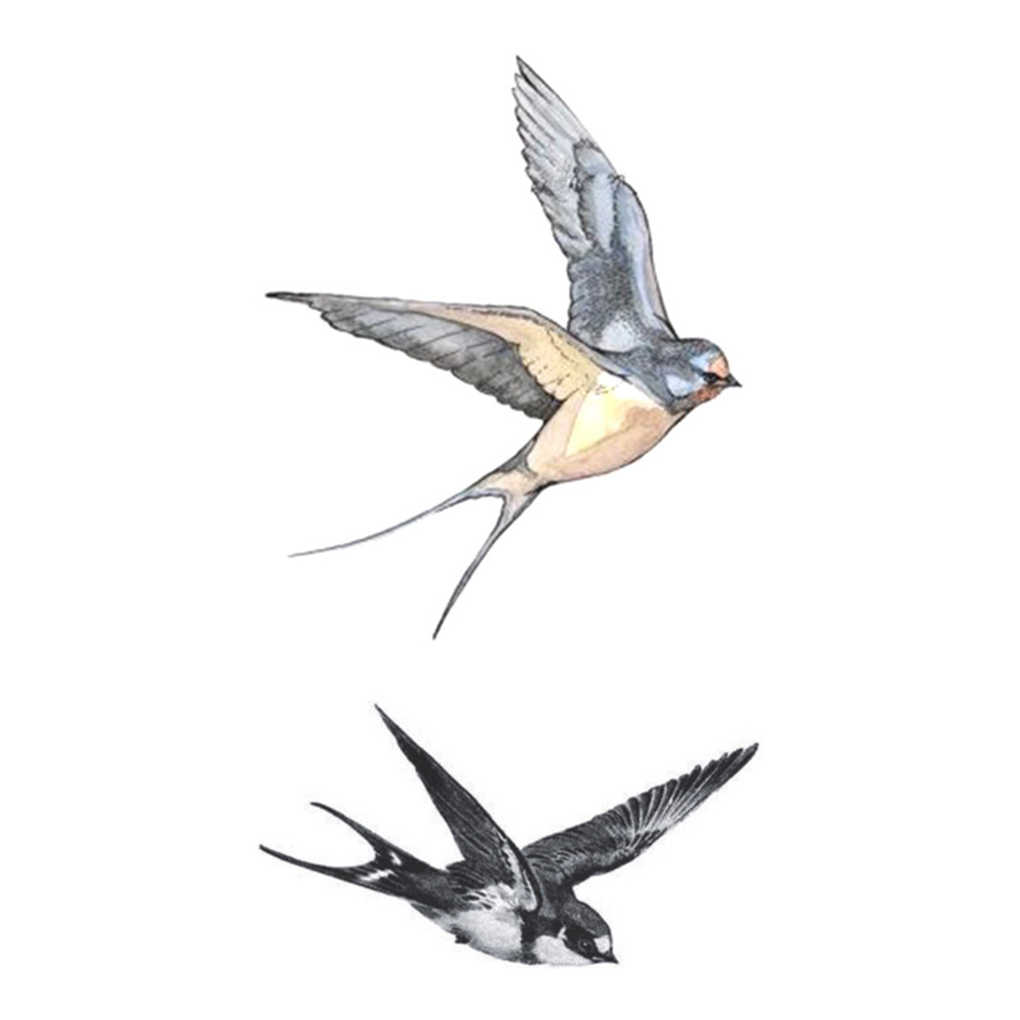 Fly Swallows Birds Design Body Art Tattoo Girl Men Women Arm Leg Wrist Foot Hand Temporary Sticker