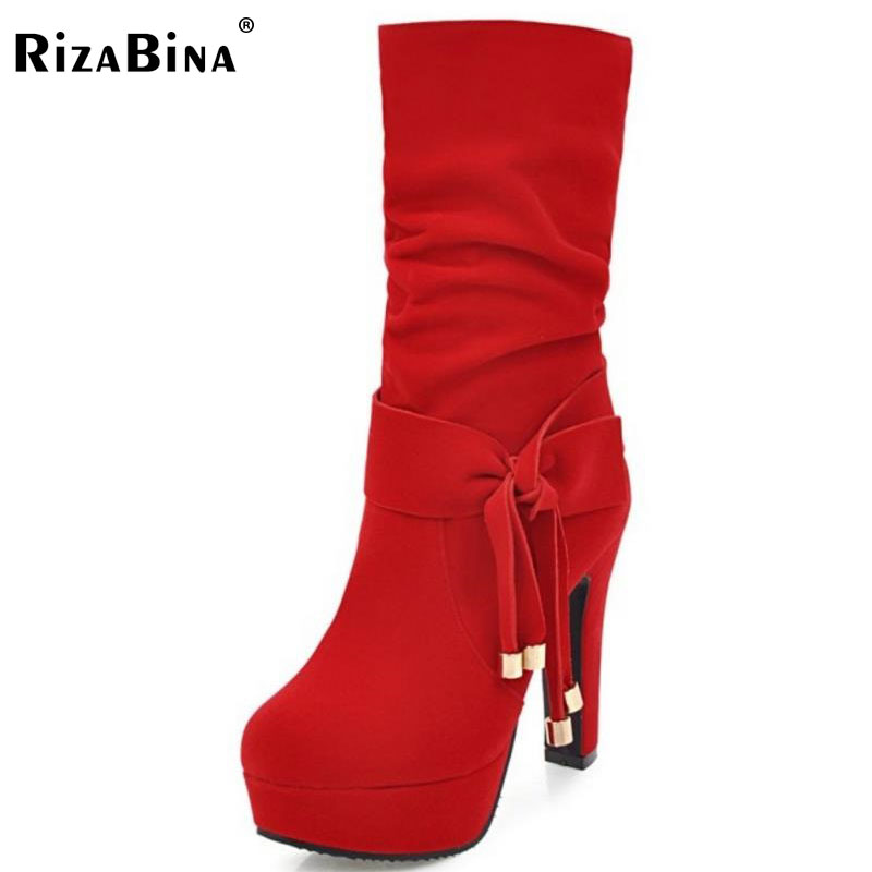 RizaBina Size 33-43 Women Mid Calf High Heel Boots Women Bowtie Platform Boots Warm Fur Shoes Winter Snow Botas Woman Footwears double buckle cross straps mid calf boots