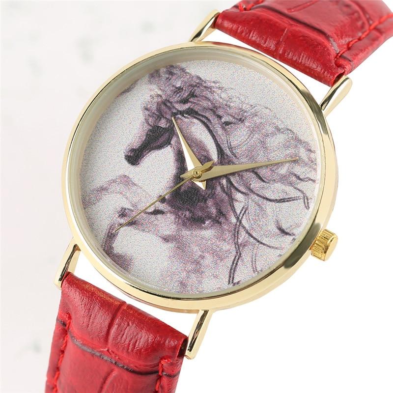 Creatieve vrouwenhorloges paard inkt embleem lederen armband dames - Dameshorloges