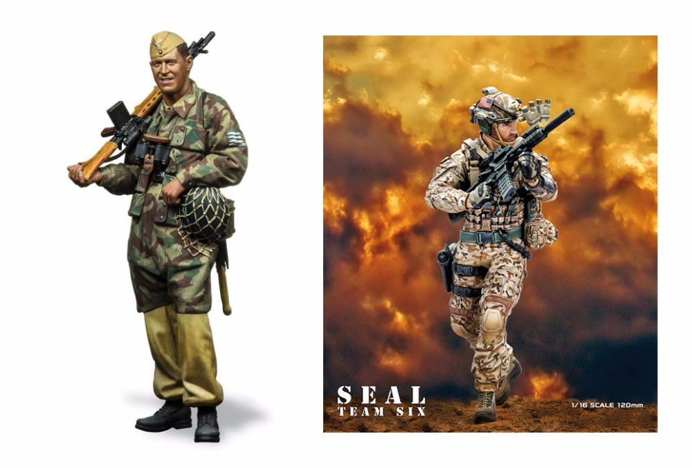 Assembly Unpainted Scale 1/16 120mm Fallschirmjager and Navy Seal soldiers figure Historical WWII Resin Model Miniature Kit scale models 1 16 120mm soviet scout soldier ww2 120mm figure historical wwii resin model free shipping