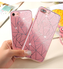 For iPhone 6 6S Plus Glitter Powder Silver Rhombus Soft TPU Hard PC Mobile Phone Cover Case For iPhone 7 7 Plus 6 6S Capa Fundas