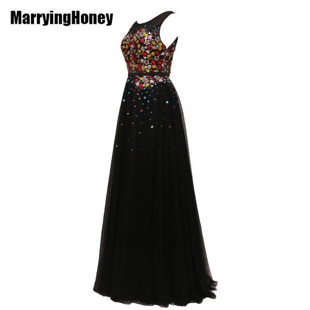 c0433f2f42 Fiesta largo Vestidos de noche Encaje tul negro apliques mujeres más tamaño formal  vestidos de gala