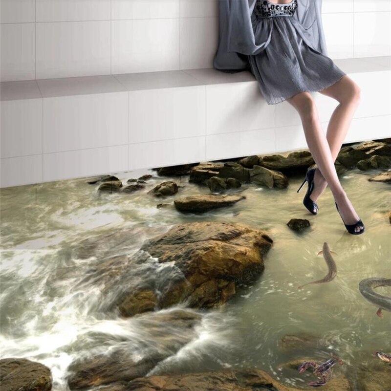 Beibehang Приморский речной песок Гостиная Ванная комната 3D плитка Пользовательские Большая фреска полы наклейки Papel де Parede