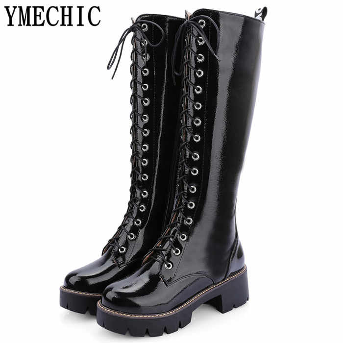 YMECHIC Black Red White Punk Lacing Cross Tied Knee High Thick Heel Boots Ladies Autumn Winter Long Motorcycle Boots Shoes Woman