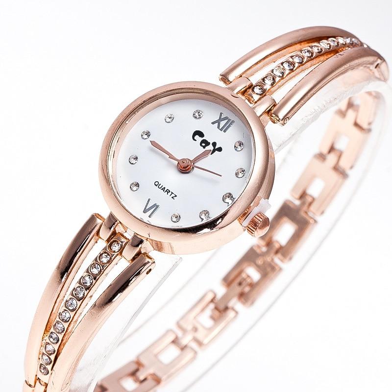 CAY Stainless Steel Klockor Kvinnor Fashion Smycken Diamant Kedja Guld Armband Kvarts Armbandsur Ladies Klocka Relogios