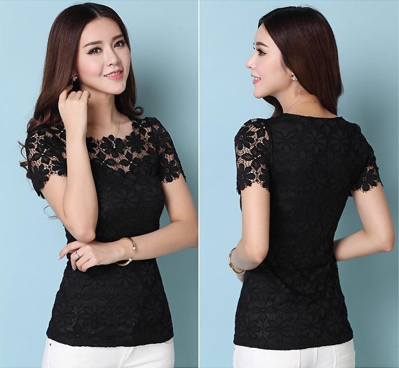 HTB1y5QkHXXXXXa7apXXq6xXFXXXv - Short Sleeve Tee Shirt Top Clothing Lace Blouse Sexy Floral