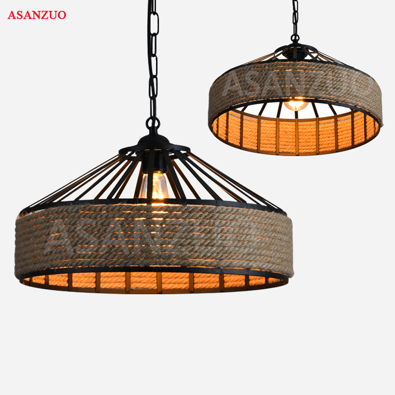 American country hemp cord Iron pendant light loft retro industrial wind personality restaurant Cafe creative bar pendant lamps american loft retro personality industrial fan iron pendant light bar restaurant clothing store droplight