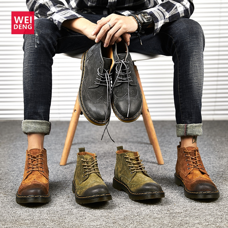 Weideng Classic Brogue Women Genuine Leather Boot Casual Winter Shoes Lace Up Work Shoes Non-slip Hoof Heels Plus Size