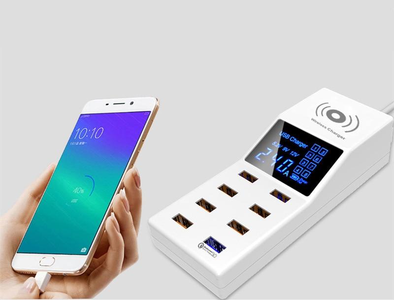 Charge rapide 3.0 Smart 8 Ports USB chargeur Led affichage QI chargeur sans fil chargeur chargeur prise de courant adaptateur bande EU US UK prise