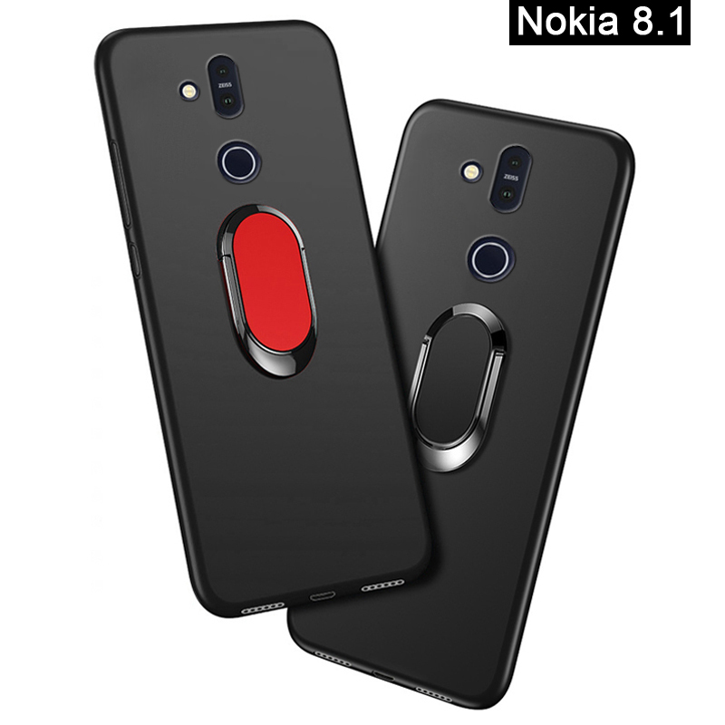 Cover for <font><b>Nokia</b></font> <font><b>8.1</b></font> <font><b>Case</b></font> luxury 6.18 inch Soft Black <font><b>Silicone</b></font> Magnetic Car Holder Ring Funda for <font><b>Nokia</b></font> <font><b>8.1</b></font> 2018 Phone <font><b>Cases</b></font> image