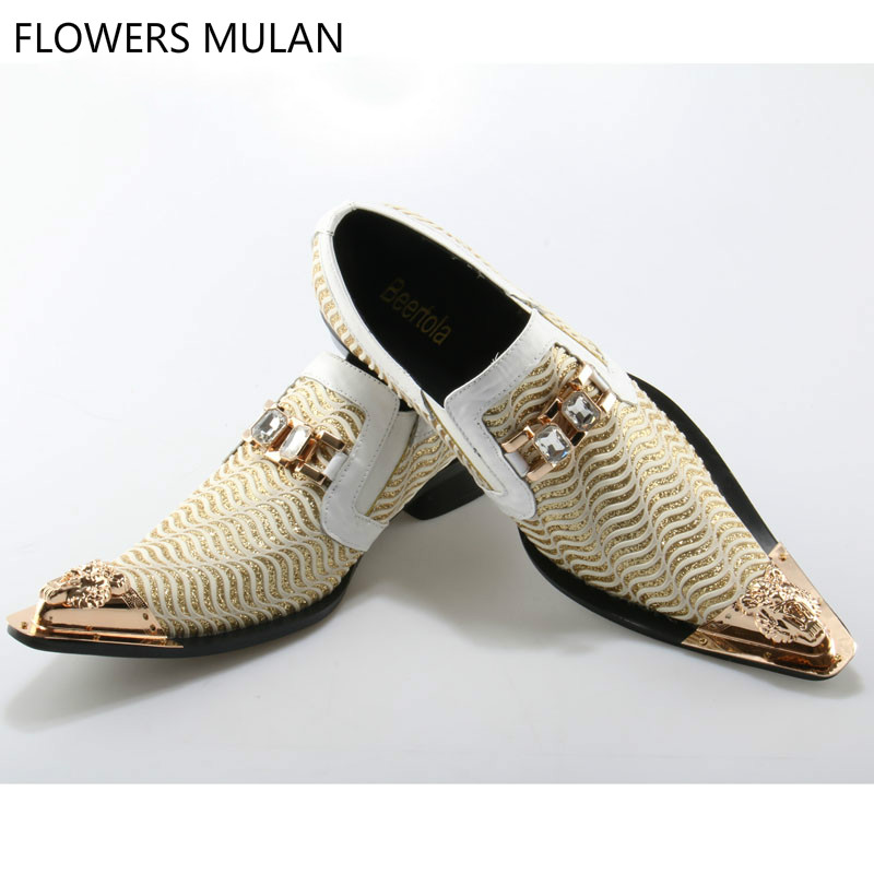 Glitter Gold and White Dress Shoes Genuine Leather Metalic Gold Toe Slip On Business Men Shoes Mens Wedding Shoes Party Footwear