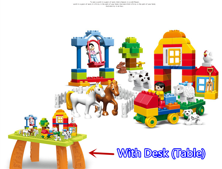 цена на Hot Sale 100Pcs Large Particles Happy Farm Animals Building Blocks Sets Large Size DIY Brick Toy Compatible With Duplo Gifts