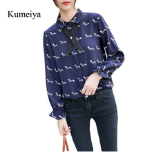 ae312ac7850c Kumeiya Women Chiffon Blouses Shirt 2019 Female Dog Print Clothing Bow Tie  Flare Sleeve Office Shirt