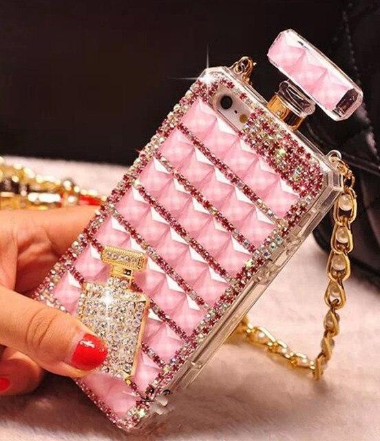 Diamante Bling botella de Perfume botella de bricolaje diamantes de imitación teléfono caso con cadena para iPhone 6 6 plus 7 8 plus X XR xs Max Samsung S8 S9 S10 S10e
