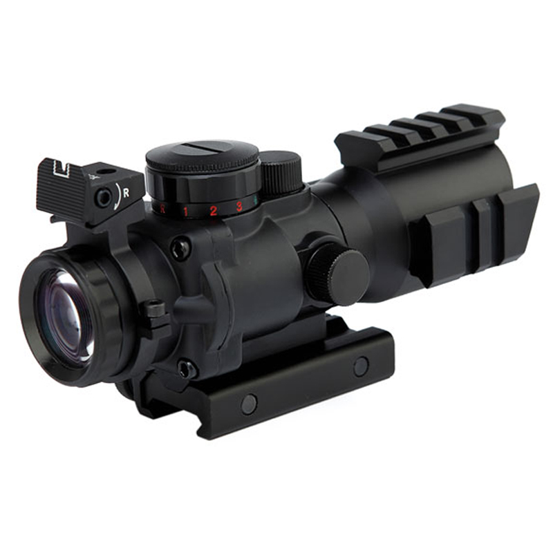 Compact Prism 4x32mm Riflescopes Hunting 4 X32 Prism On Three Sides By Rail Optic Sight Rifle Scope Hunting Gun