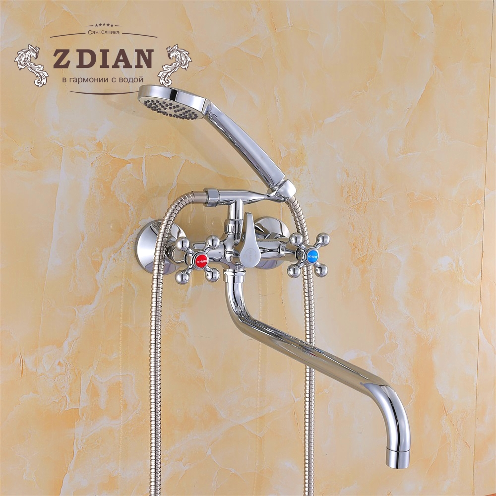 Quality Wall-mount Bathroom Shower Faucets with Long Spout Set Bathtub Faucet Double Handle Hot and cold water tap недорго, оригинальная цена