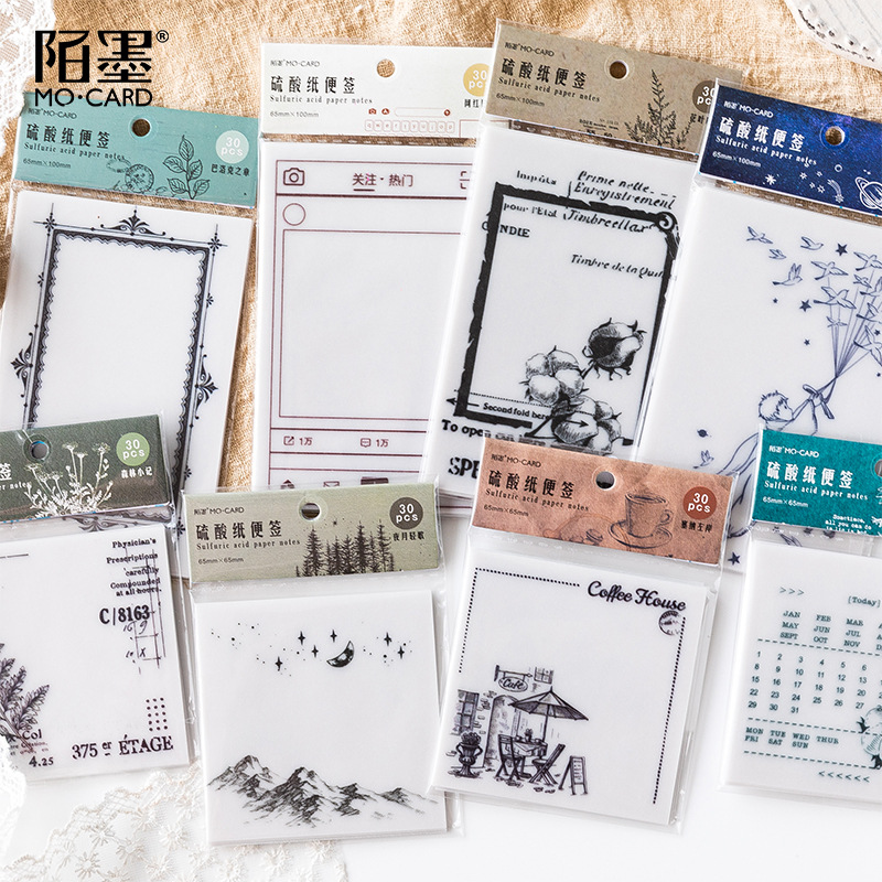1 Set/1 Lot  Sulfuric Acid Paper Series Memo Pad Sticky Notes Escolar Papelaria School Supply Bookmark Notepad Label