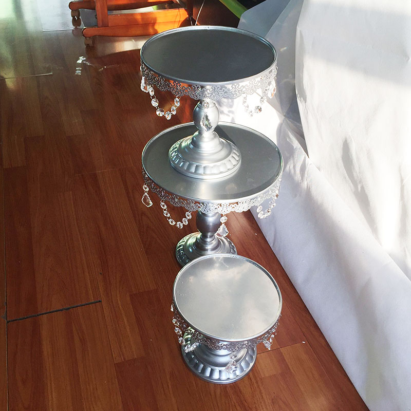 Metal de hierro de plata soporte de la torta fijó 8 ''/10''/12''pendant encanto