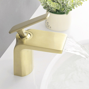 цена на Brass Waterfall Basin Faucet Bathroom Sink Cold And Hot Mixer Tap Brushed Gold/ORB/Chrome Basin Tap Deck Mounted