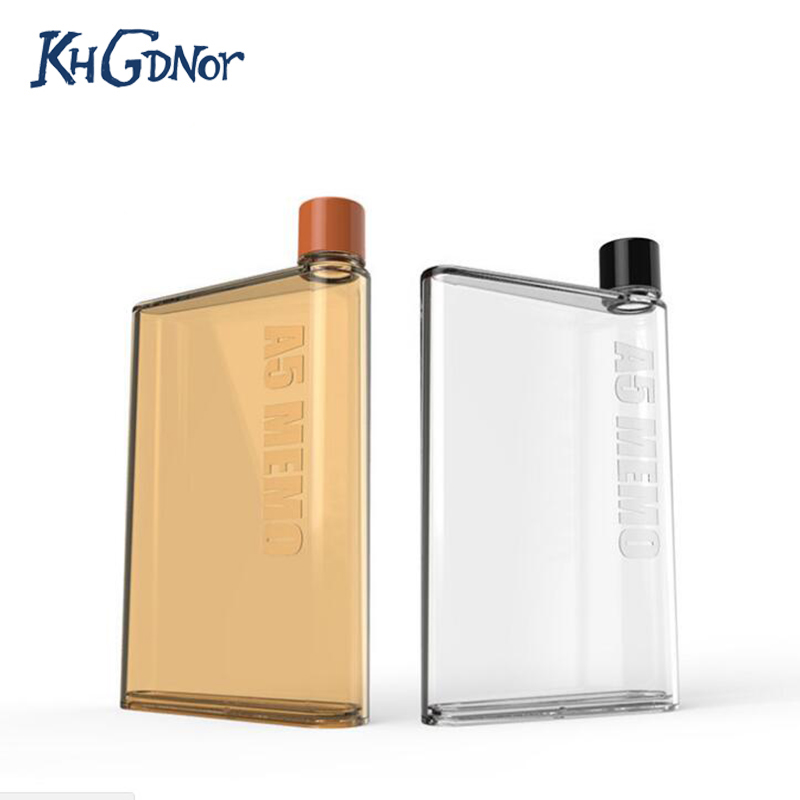 Hot Sale Memo Bottle Creative A5 <font><b>Paper</b></font> Bottle Student Movement <font><b>Flat</b></font> Kettle <font><b>Plastic</b></font> <font><b>Cup</b></font> With Cover Portable Water <font><b>Cup</b></font>