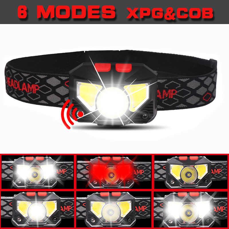 ידיים-משלוח LED פנס תנועה חיישן ראש מנורת 6000lums LED פנס לפיד סוללה מובנית אינדוקטיביים עם תיבה ניידת