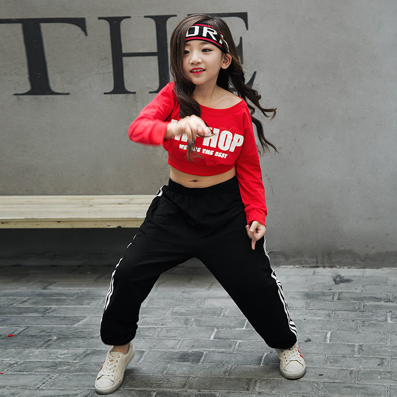 Kid Long Sleeve Hip Hop Clothing Casual Shirt Cropped Sweatshirt Tops for Girls Jazz Dance Costume Ballroom Dancing Clothes Wear in Tees from Mother Kids