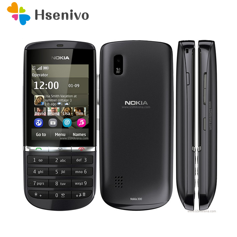 300 100% Original Unlocked Nokia Asha 300 Mobile Phone 2.4' 3G Bluetooth FMmobile Phone Refurbished Free Shipping