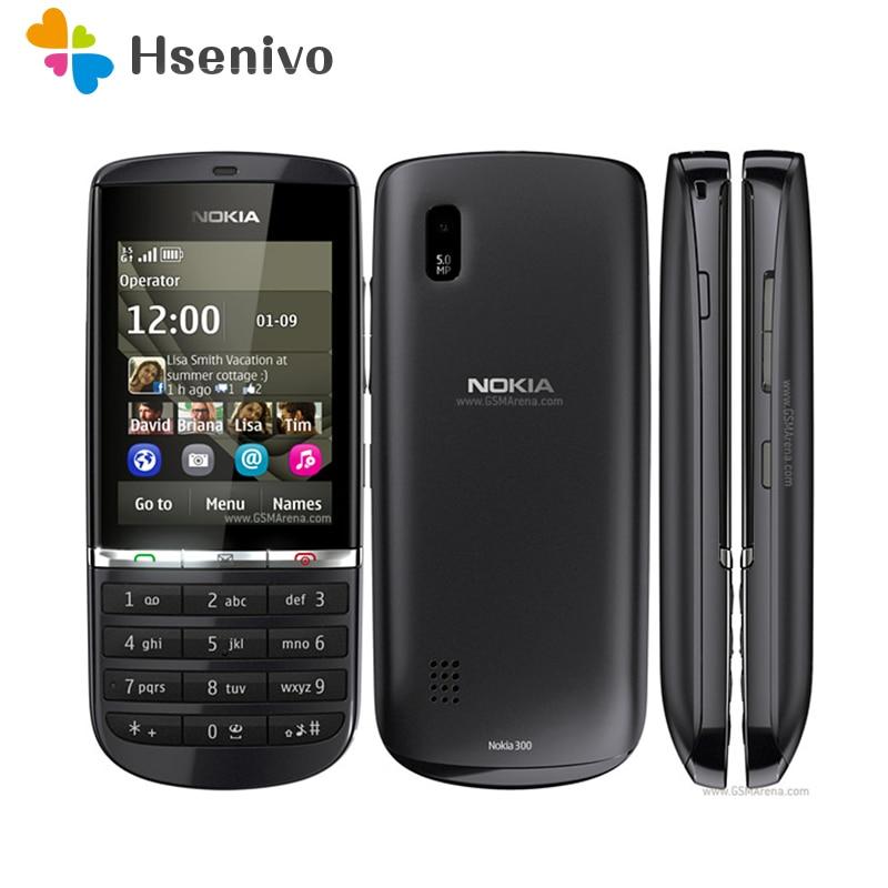300 100% original unlocked Nokia asha 300 Mobile phone 2.4' 3G Bluetooth FMmobile phone refurbished Free shipping(China)