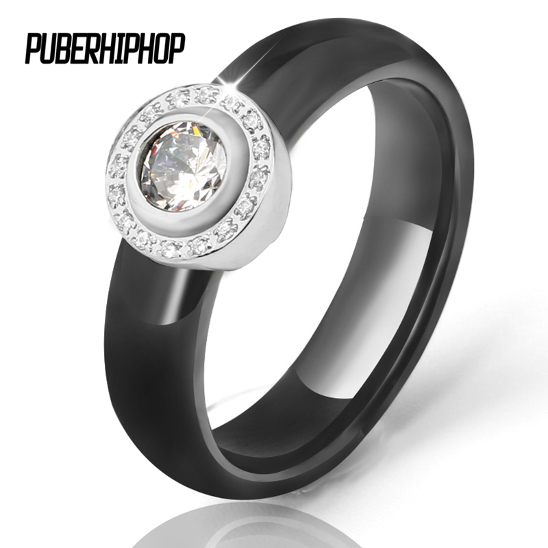 2018 Luxury Zirconia Crystal Promise Wedding Rings for Women Bling Big Carat Bride Ceramic Rings Accessories Jewelry Fasion Gift big crystal rings black white smooth ceramic rings with bling big transparent rhinestone women fashion jewelry rings for women