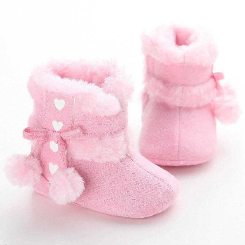 Princess First Walkers Shoes Winter Girls Snow Boots Fur Fashion Soft Bottom Newborn Prewalker 0-12 Months Infant First Walker