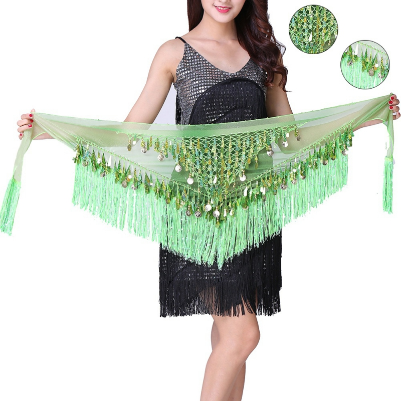 New Sequin Belly Dancing Costume Hip Scarf Hot Tribal Triangle