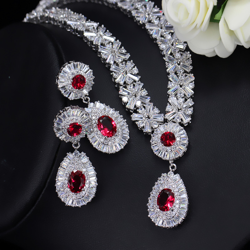 Oval Red Garnet Crystal Zircon Copper Plated White Gold Ear Jewelry Set Earring Necklace Pendant M02-T0019