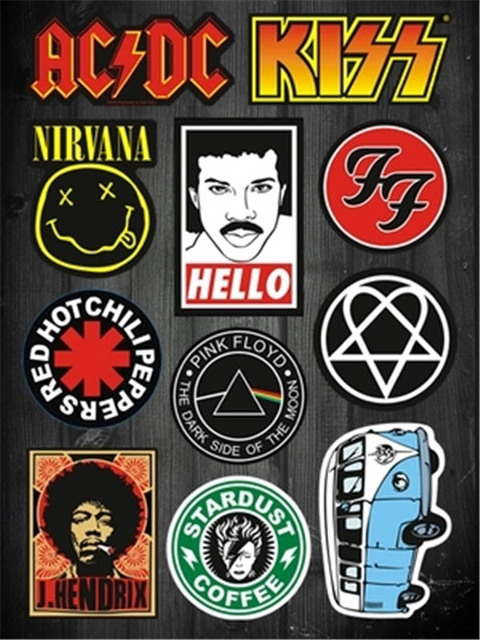 A4br04 11 different styles nirvana hello kiss rock music band stardust luggage laptop removable pvc stickers