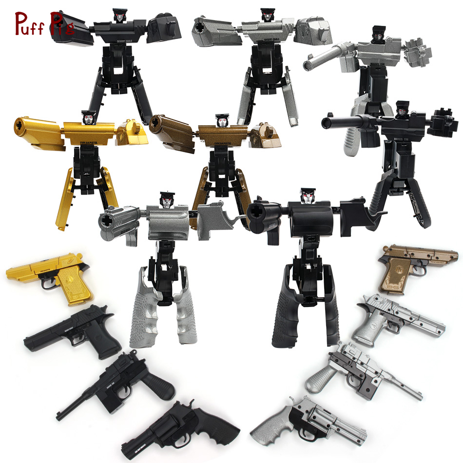 Alloy Metal Gun Transformation Assembly Robot Military Model Metal Alloy Action Figures Robot Boys Gift Classic Collection Toys