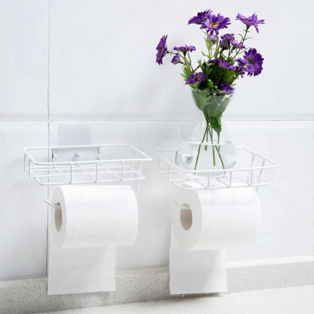 Soporte de papel higiénico de otra casa rollo de papel de baño soporte de teléfono estante de almacenamiento de tejido colgador de toalla barra de pared organizador de montaje