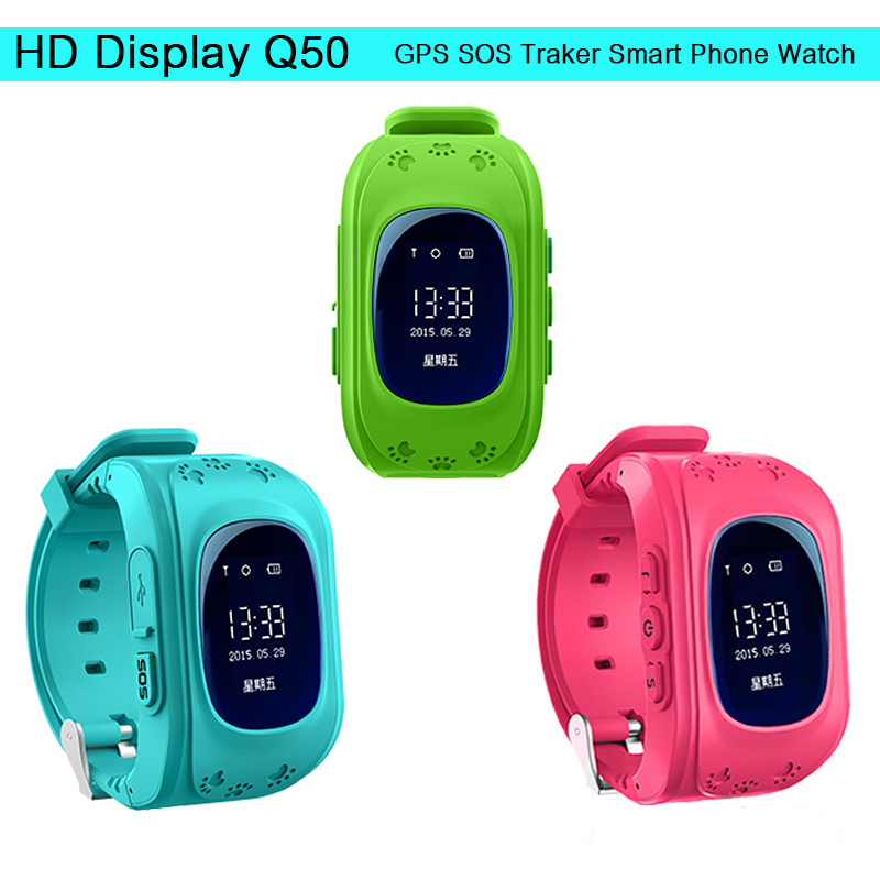 HD Anti Lost GPS Q50 Smart Phone Watch Tracker Wristband Kids Child SOS GSM with App
