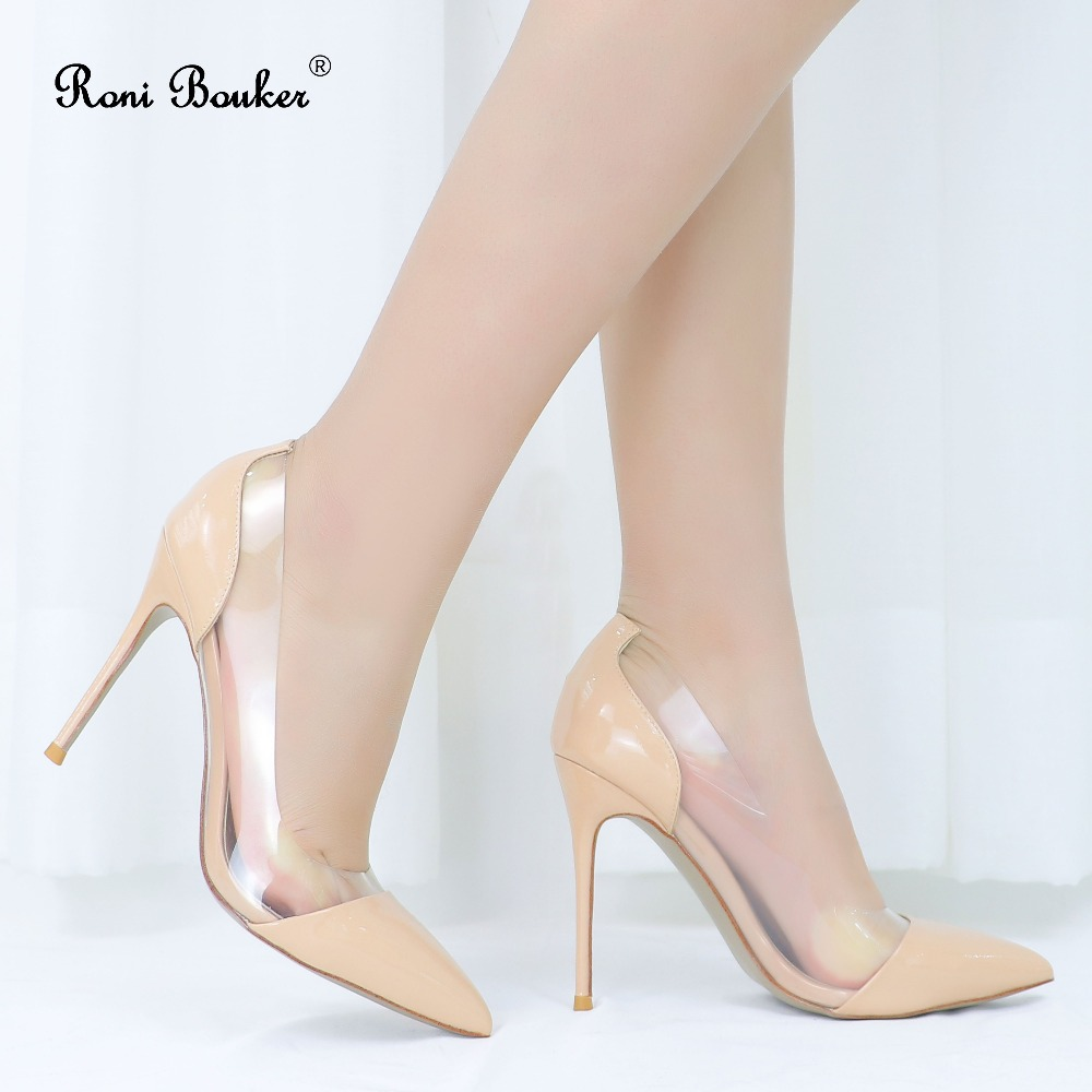 Roni Bouker Women s Clear Pumps Shoe Woman Patent Real Leather High Heels Women Nude White