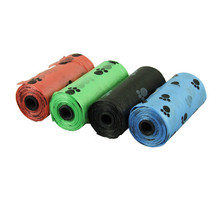 10 rolls=150pcs Degradable Pet Dog Waste Poop Bag With Paw Printing Doggy Bag picking bags random colors on sale