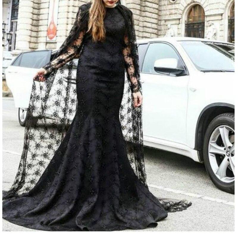 Longueur de plancher noir dentelle O cou robes de soirée 2017 avec Cape à manches longues formelle femmes robes de soirée X-40