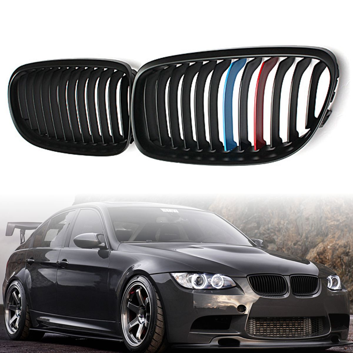 Image 3 - Pair Matte/Gloss Black Car Front Grille For BMW E90 LCI 3 Series Sedan/Wagon 09 11 Racing Grills-in Racing Grills from Automobiles & Motorcycles