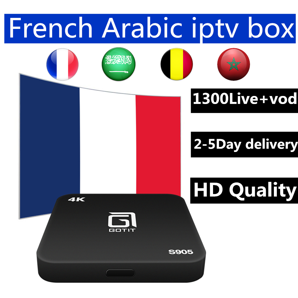 Android iptv box s905 7.1 android tv box with best French Arabic Belgium 1 year iptv for smart tv iptv m3u mag free shipping