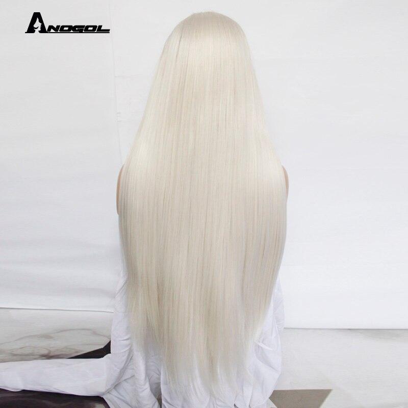Image 5 - Anogol платиновый блонд натуральные парики 613 длинные шелковистые прямые 180% Плотность синтетические парики на кружеве для белых женщин-in Синтетические парики без сеточки from Пряди и парики для волос on AliExpress