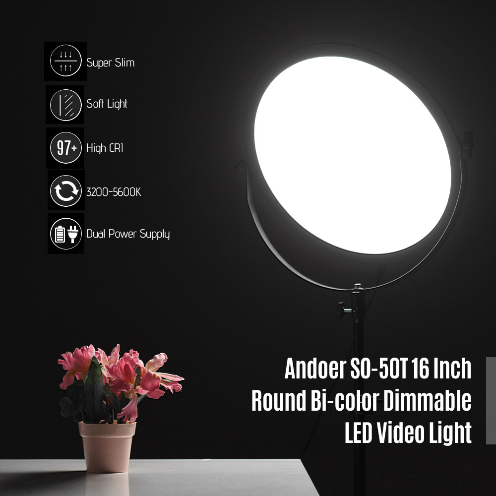 Andoer 50w Photo Studio Led Video Light 3200k-5600k Photography Lighting Dimmable Lamp With 2m Light Stand For Portrait Wedding Photographic Lighting