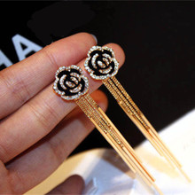 CX-Shirling Women High Quality Anti-Allergy Earring Female Real Rose Gold Long Tassel Flower cc Jewelry