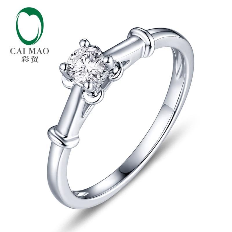 CaiMao 0.18ct Natural Round F VS Diamond 14kt White Gold Engagement Wedding Exquisite Ring caimao 0 18ct natural round f vs diamond 14k white gold engagement wedding ring