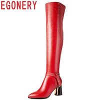 EGONERY 2018 new fashion sexy high quality genuine leather pointed toe women shoes high strange style black red over knee boots