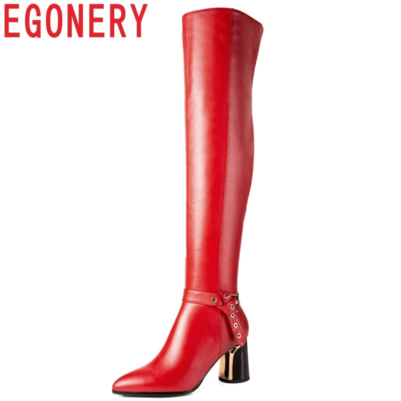 EGONERY 2018 new fashion sexy high quality genuine leather pointed toe women shoes high strange style black red over knee boots все цены