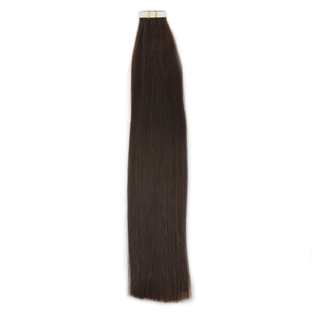 Full Shine Double Drawn Tape In Hair Extensions 100% Remy Human Hair Color #4  Brown 50g 20 Pcs Invisible Skin Weft Hair Glue On