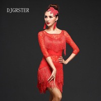 DJGRSTER Latin Dance Dresses Suits Women Girls Sexy Fringes Long Skirt Ballroom Tango Rumba Latin Dresses