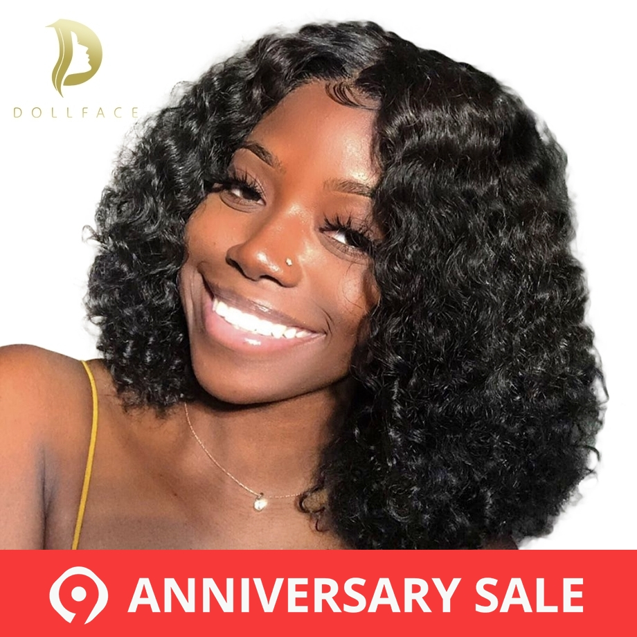 Brazilian Curly Lace Front Human Hair Wigs Short Bob Wig With Preplucked Hairline For Black Women Full End Freeshipping Dollface(China)